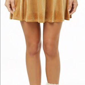 Crushed Velvet Skirt Velvet Rave Skirt Mustard Yellow Gold Skater Skirt Gold Mini Skirt